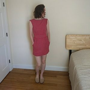 Red and White Polka dot dress, Size Small